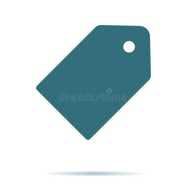 Błękitna metki ikona odizolowywająca na tle Nowożytny płaski piktogram, biznes, marketing, interneta przeciw ilustracji
