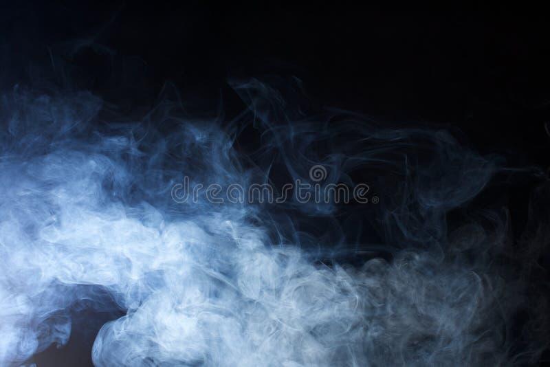 Błękitna mgły tekstura na Czarnym tle obrazy stock