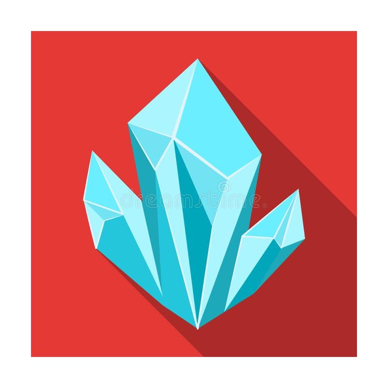 Błękitna naturalna kopalna ikona w mieszkanie stylu odizolowywającym na białym tle Cenne kopaliny i jubilera symbolu zapasu wekto ilustracji