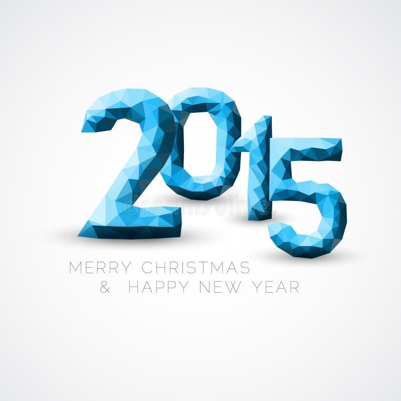 Błękitna Niska poli- Szczęśliwa nowego roku wektoru 2015 karta royalty ilustracja