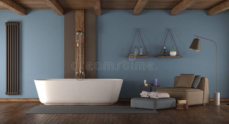 Błękitna nowożytna łazienka z wanną ilustracja wektor