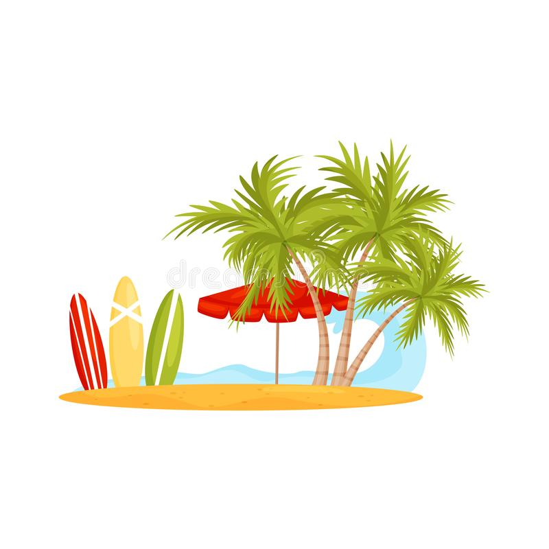 Błękitna ocean fala i piaskowata plaża z drzewkami palmowymi, parasolem i surfing deskami, Wakacje na Bali Płaski wektorowy proje ilustracja wektor