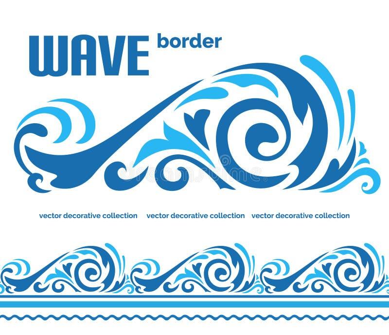 Błękitna ocean fala, wody morskiej granicy ornament ilustracji