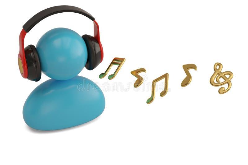 Błękitna osoba słucha muzyka z hełmofonem ilustracja 3 d royalty ilustracja