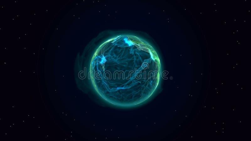 Błękitna osocze planeta w przestrzeni royalty ilustracja