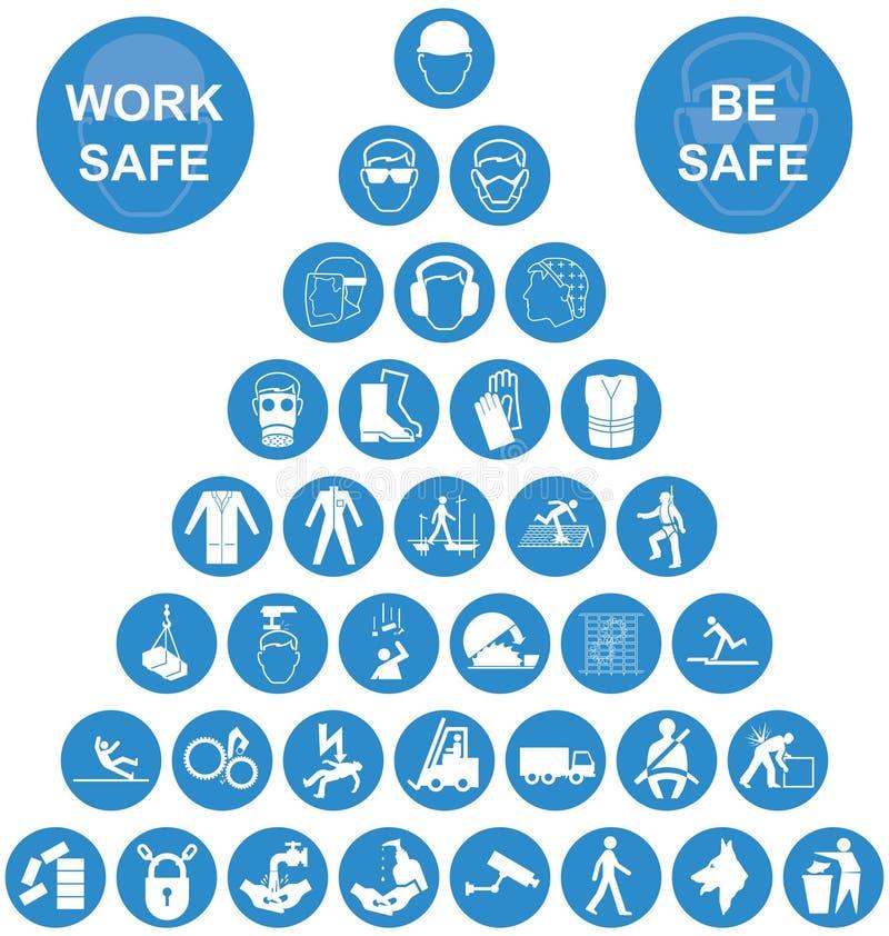 Błękitna ostrosłupów zdrowie i bezpieczeństwo ikony kolekcja ilustracji