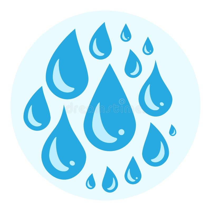 Błękitna płacz kreskówka drzeje ikonę lub pot opuszcza od oczu royalty ilustracja