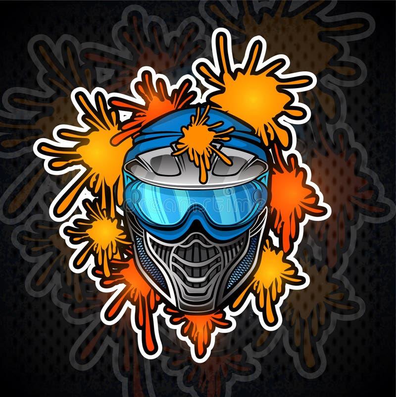 Błękitna paintball maska z farba kleksami Bawi się logo dla jakaś turnieju na ciemnym tle lub drużyny ilustracji