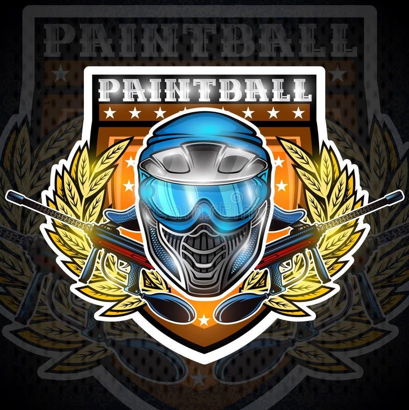 Błękitna paintball maska z pistoletami w centrum wianek na osłonie Bawi się logo dla jakaś turnieju na czerni lub drużyny royalty ilustracja