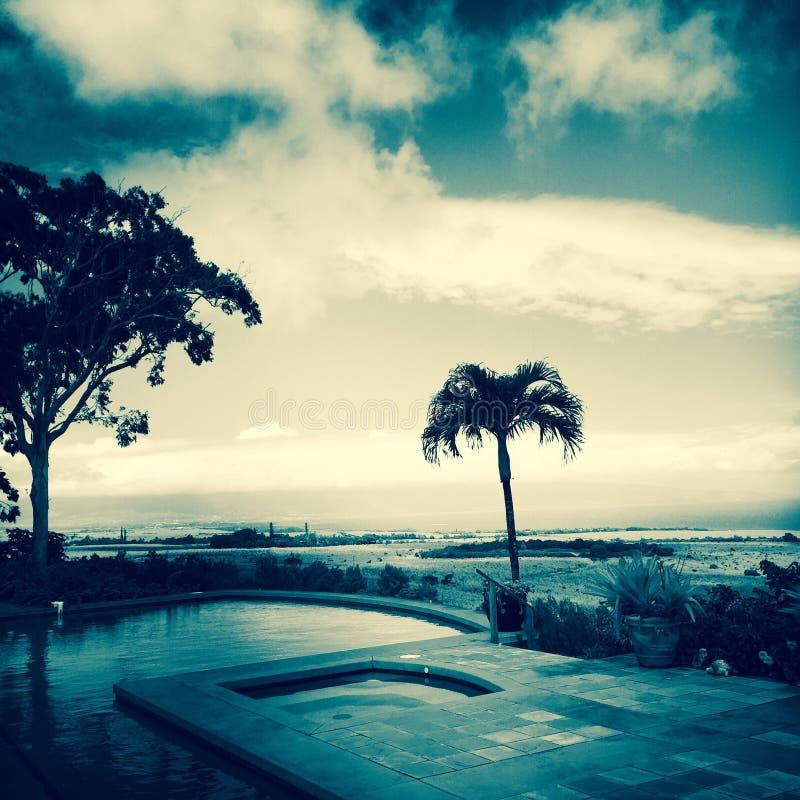Błękitna plaży scena w Maui i fotografia royalty free