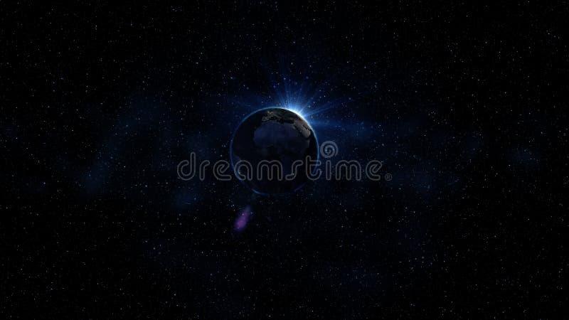 Błękitna planety ziemia od przestrzeni pokazuje Ameryka, Afryka, usa, kuli ziemskiej błękita łuny światowa krawędź i słońce lekki zdjęcie stock