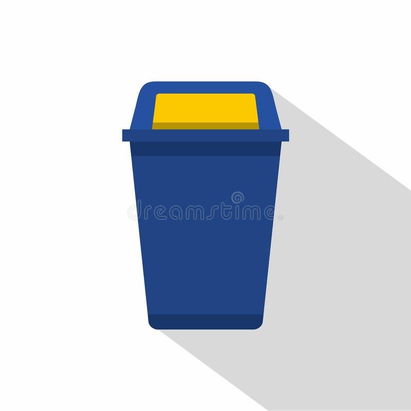 Błękitna plastikowa wastebasket ikona, mieszkanie styl ilustracji