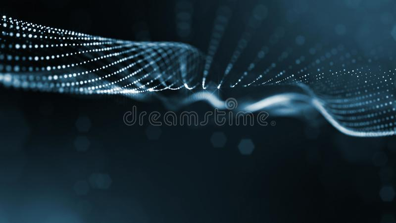 Błękitna powierzchni siatka i mikrokosmos lub przestrzeń 3d renderingu nauki fikci tło jarzyć się zdjęcie stock