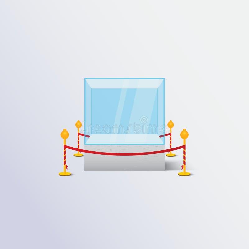 błękitna powystawowa gablota wystawowa ilustracji