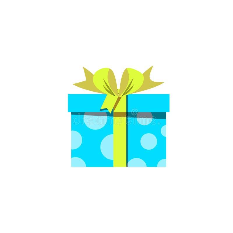 Błękitna prezenta pudełka ikona odizolowywająca na białym tle royalty ilustracja