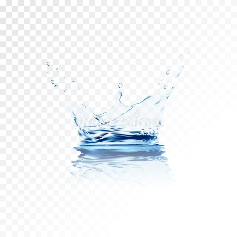 Błękitna przejrzysta wodna wektorowa pluśnięcie korona z czochry odbiciem wodna kiść z kroplami ilustracja 3 d royalty ilustracja