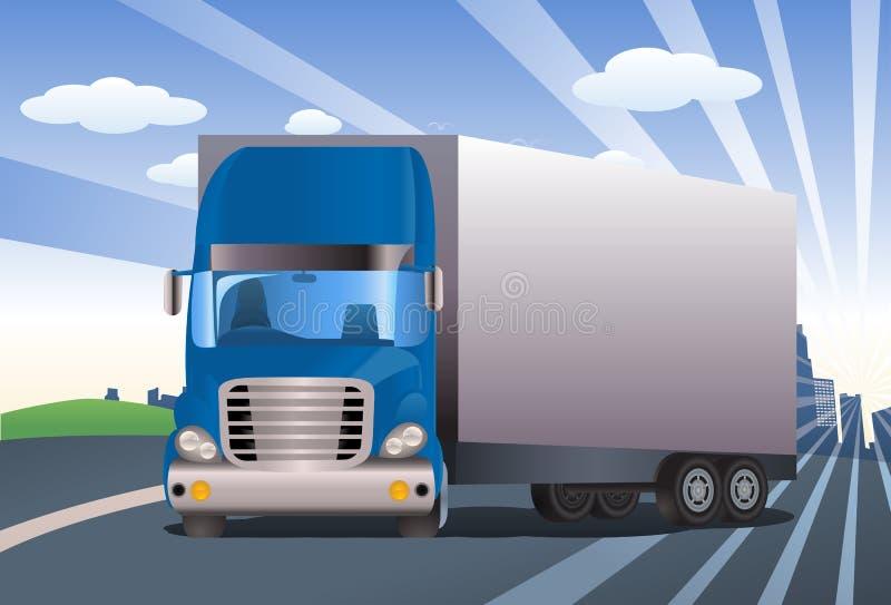 Błękitna przyczepy ciężarówka ilustracja wektor