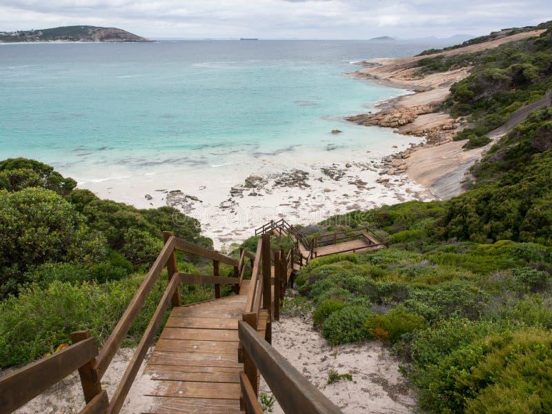 Błękitna przystani plaża, Esperance, zachodnia australia obraz stock