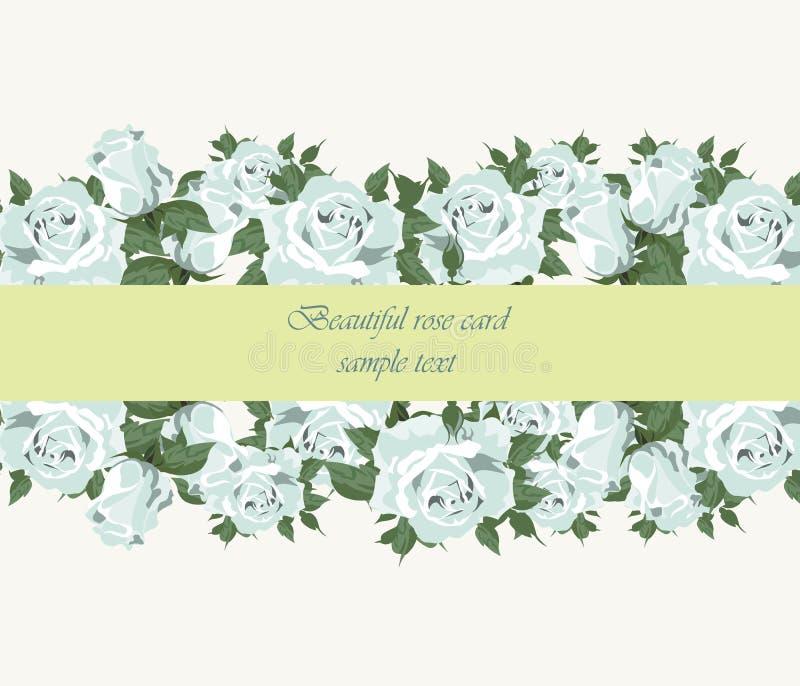 Błękitna róża rocznika zaproszenia karta kropkująca royalty ilustracja