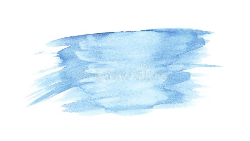 Błękitna ręka rysujący akwareli obmycia odizolowywający punkt na białym tle dla teksta projekta, sieć Abstrakcjonistyczny zimny k ilustracja wektor