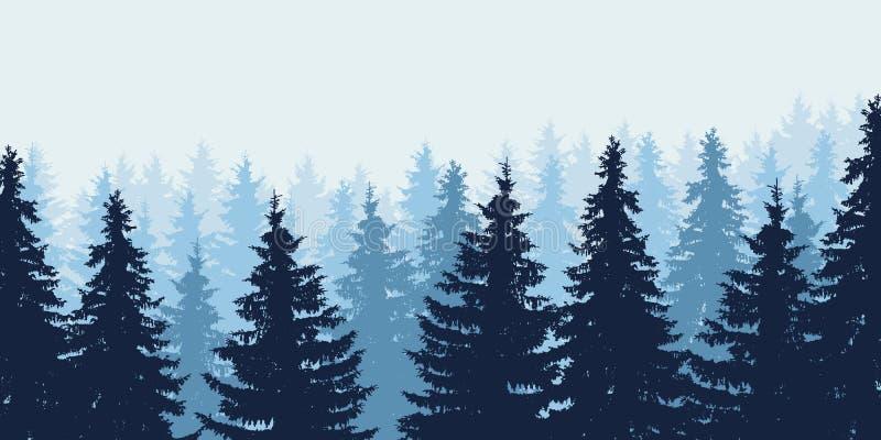 Błękitna realistyczna wektorowa ilustracja las w zimie royalty ilustracja