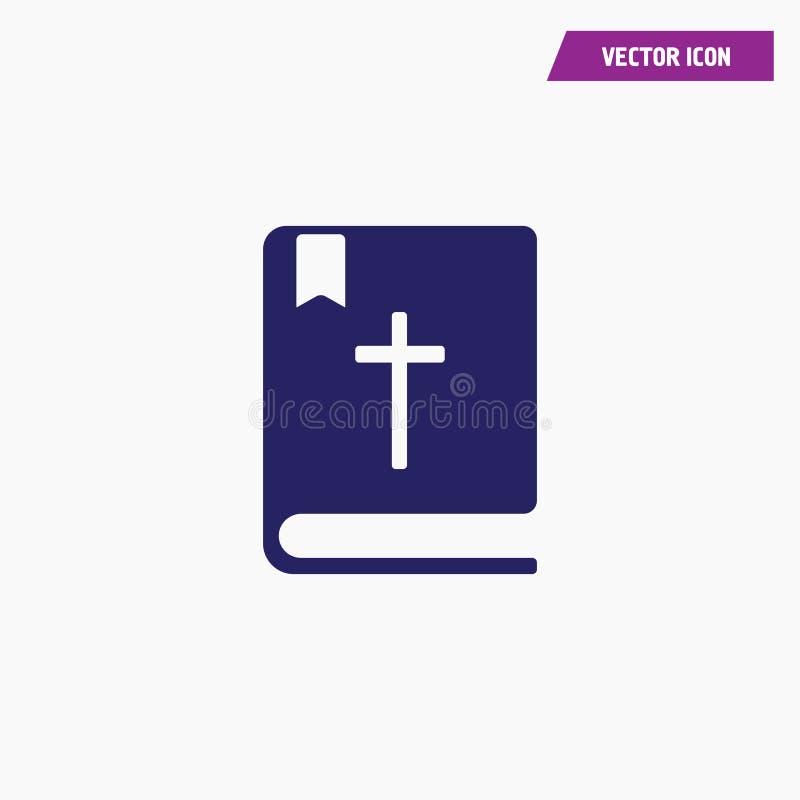 Błękitna religijna biblia krzyża książki ikona royalty ilustracja