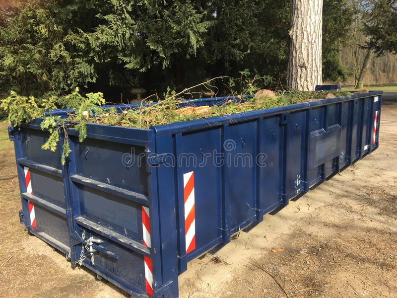 Błękitna rolka z zbiornika wypełniającego z zieleń odpady rozgałęzia się, opuszcza, obrazy royalty free