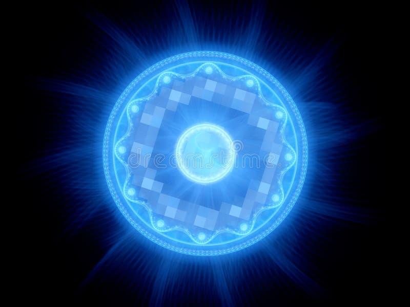 Błękitna rozjarzona magiczna brama w przestrzeni ilustracja wektor