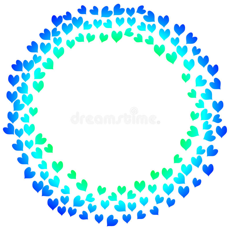 Błękitna serc valentines dnia karta royalty ilustracja