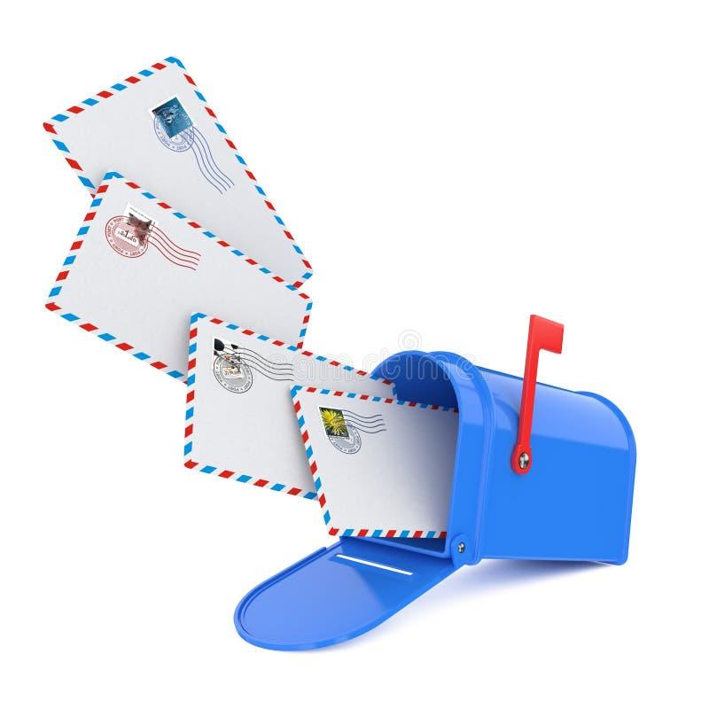 Skrzynka pocztowa z listami. ilustracji