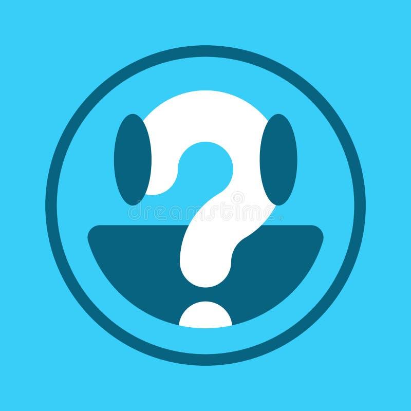 Błękitna smiley twarzy ikona z znakiem zapytania ilustracja wektor