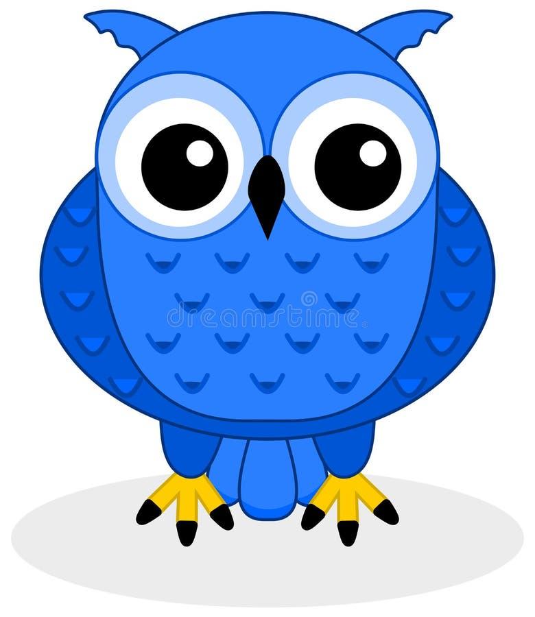 Błękitna sowa ilustracja wektor