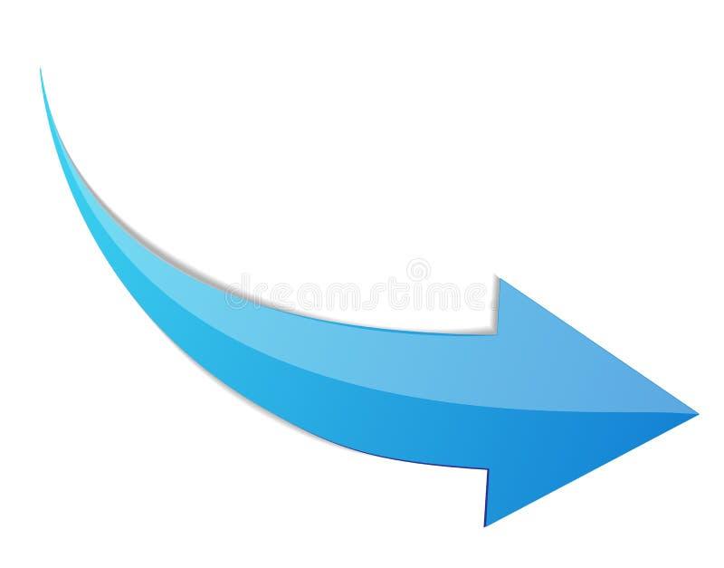Błękitna strzała 3d znaka ikona Wektorowa ilustracja odizolowywająca na biały tle royalty ilustracja