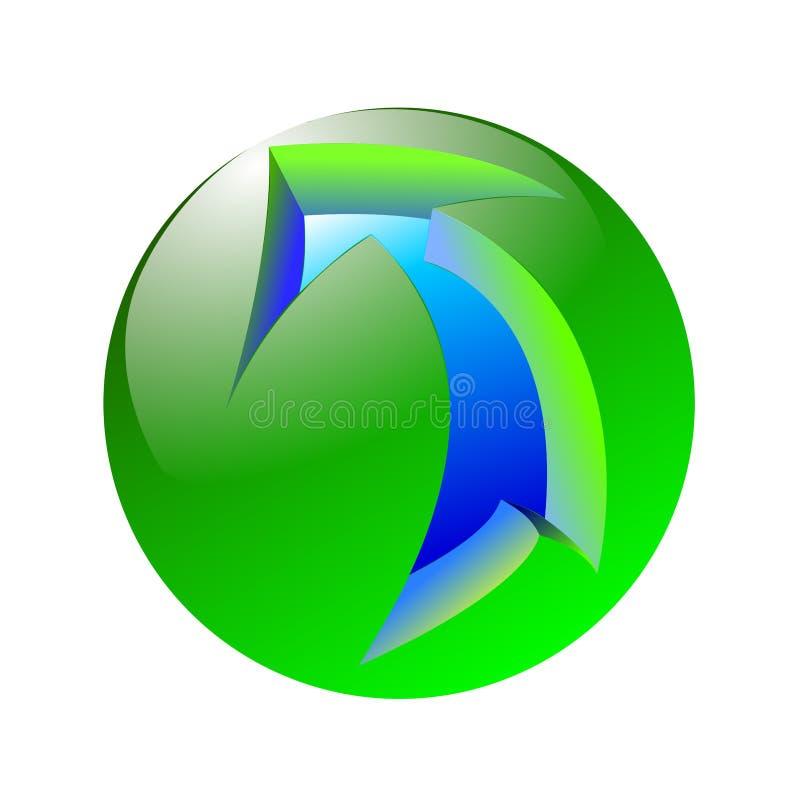 Błękitna strzała na zielonej sferze royalty ilustracja