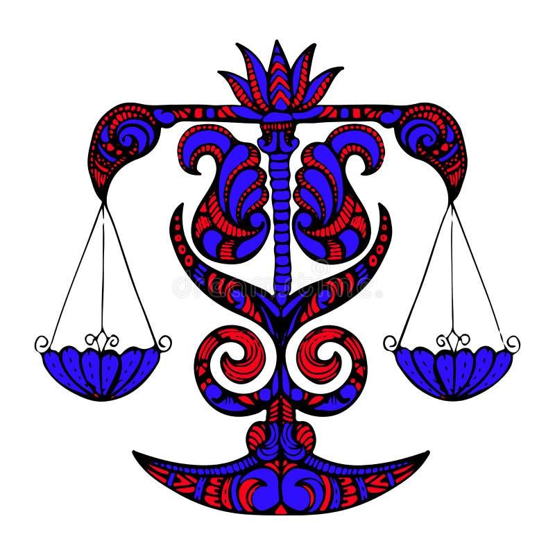 Błękitna sylwetka Libra, zodiaka znak na białym backgro royalty ilustracja