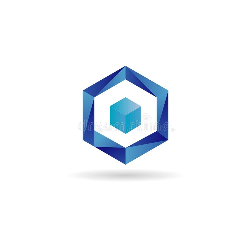 Błękitna sześcianu logo projekta symbolu ikona royalty ilustracja
