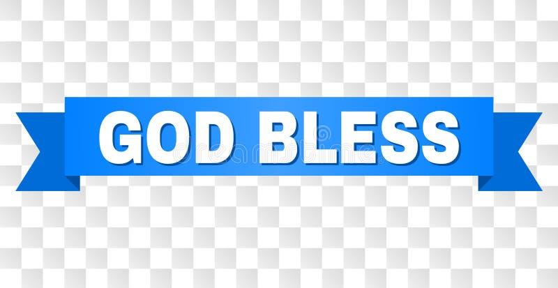 Błękitna taśma z bogiem BŁOGOSŁAWI podpis royalty ilustracja