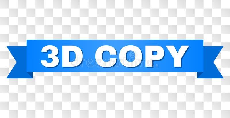 Błękitna taśma z 3D kopii podpisem ilustracji