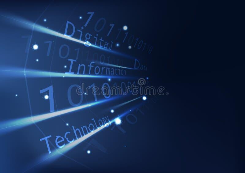 Błękitna technologii perspektywa z kodu baza danych informacją, cyfrowej sztuki futurystyczny wielobok z lekkiego skutka abstrakt ilustracja wektor
