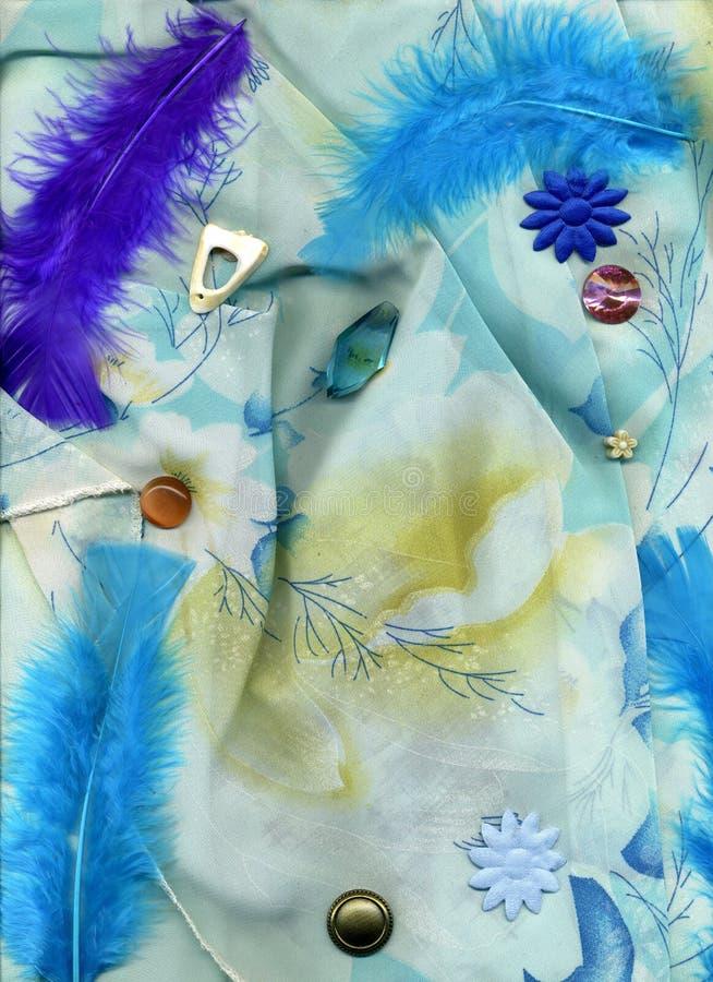 Błękitna tkanina z piórkami, guzikami i ściegów projektami, zdjęcia royalty free