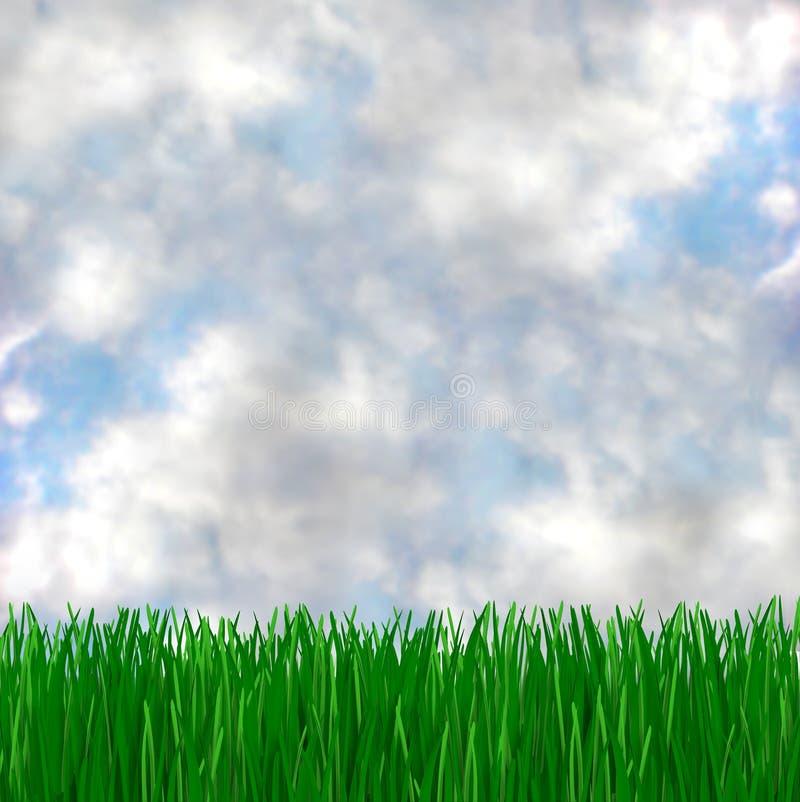 błękitna trawy zieleń spotyka niebo royalty ilustracja