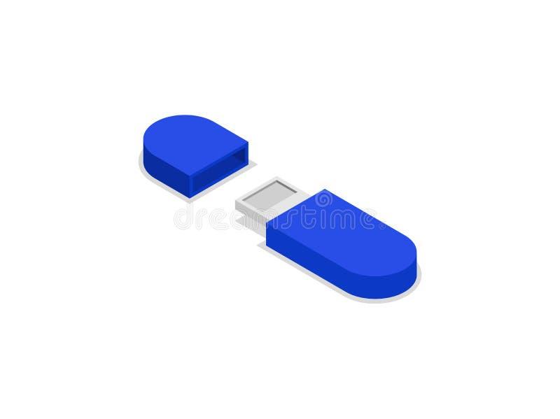 Błękitna usb prowadnikowa isometric 3D ikona ilustracja wektor