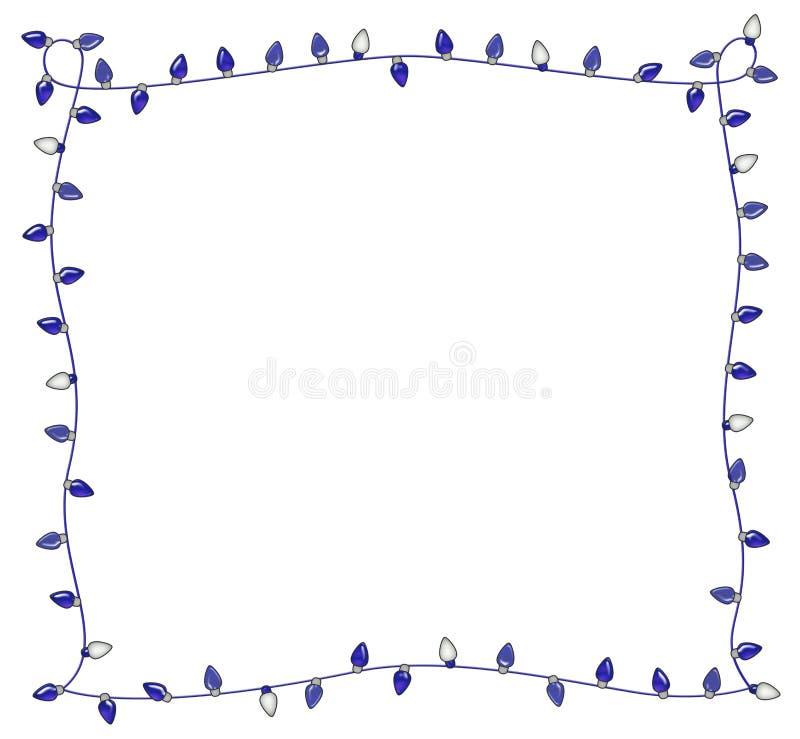 Błękitna wakacji świateł rama dla Hanukkah lub bożych narodzeń