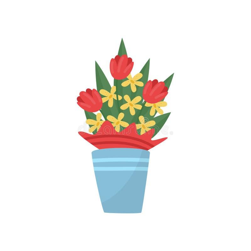Błękitna waza z bukietem piękna wiosna kwitnie tulipany i daffodils Płaski wektorowy element dla pocztówki royalty ilustracja