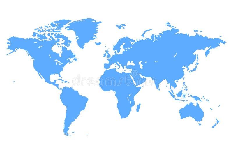 Błękitna Wektorowa Światowa mapa royalty ilustracja