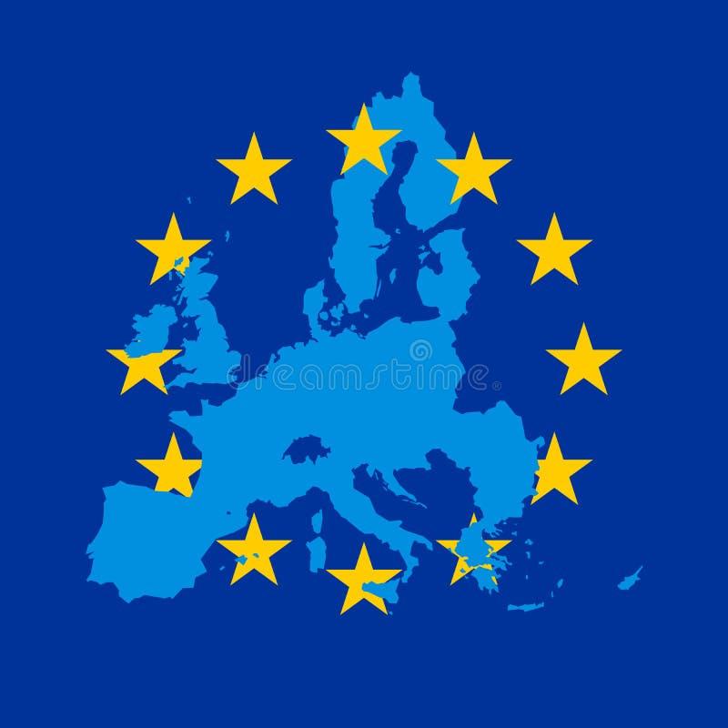 Błękitna wektorowa mapa łącząca z 12 żółtymi gwiazdami UE flaga Europejski zjednoczenie ilustracji