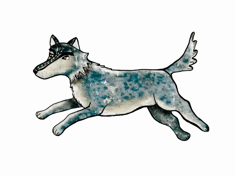 Błękitna wilk karta royalty ilustracja