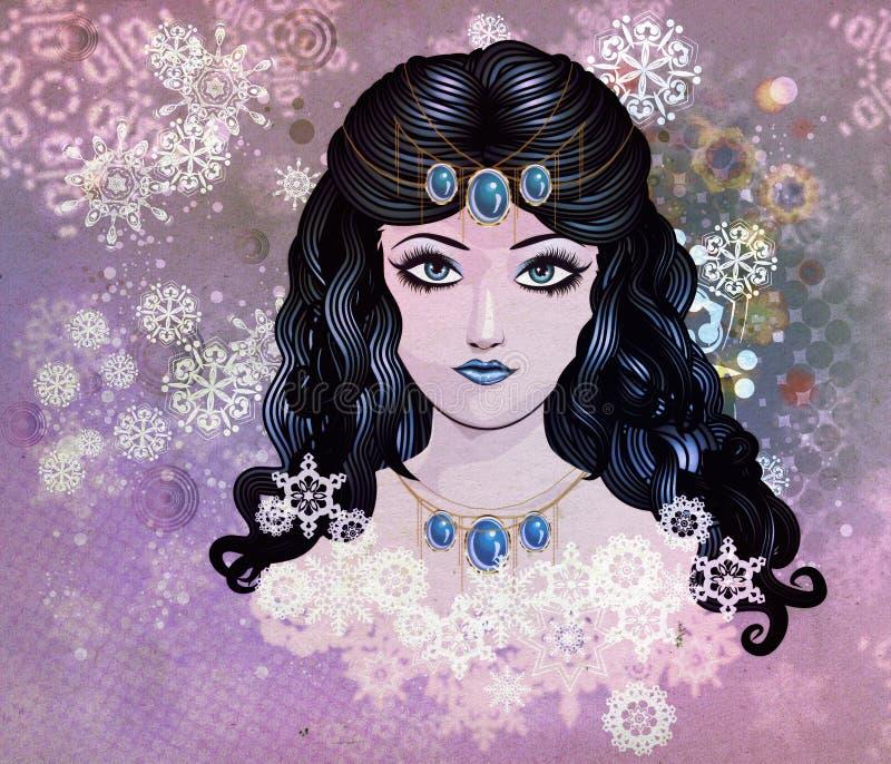 Błękitna z włosami dziewczyna z płatkami śniegu royalty ilustracja