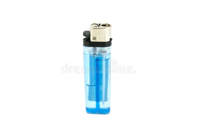 Błękitna zapalniczka odizolowywająca na białym tle zdjęcia stock