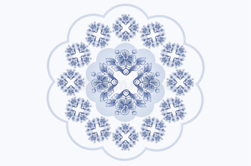 Błękitnawa falista rama dla pieluchy broderii z ornamentami błękitni kwiaty royalty ilustracja